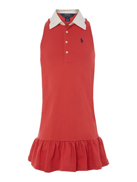 Polo Ralph Lauren Girls Sleeveless Broderie Collar Small Pony Dress