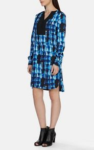 Indigo mark making print shirt dress