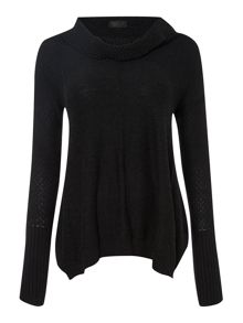 Cowl silk mix textured jumper