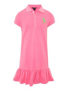 Girls big pony player frill hem polo dress