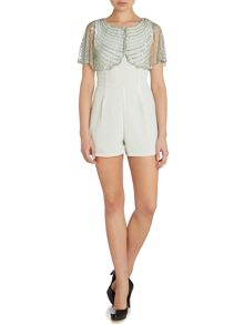 Round neck embroidered cape playsuit