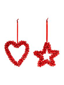 Set of red bell heart and star decorations