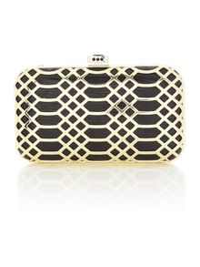 Deco metal box clutch bag