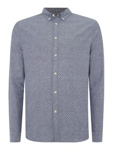 Linea Elliot Long Sleeve Polka Dot Chambray Shirt