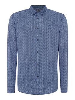 Linea Porter Long Sleeve Geo Print Shirt