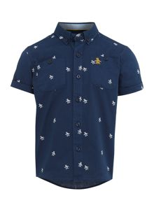 Original Penguin Boys All Over Print Oxford Short Sleeved Shirt