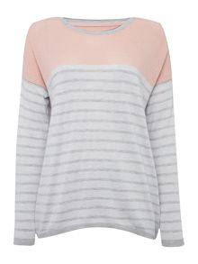 Linea Weekend Stripe Crew Perforated Jumper