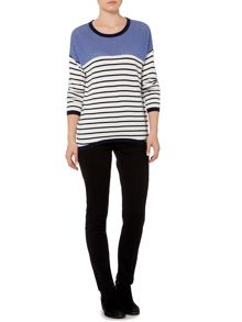 Stripe Crew Perforated Jumper