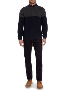 Criminal Avery Colour Block Crew Neck Jumper
