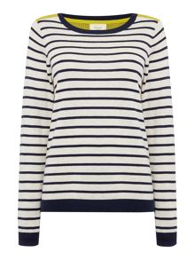 Perforated Back Stripe Knit Jumper