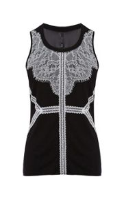 Graphic placed lace vest