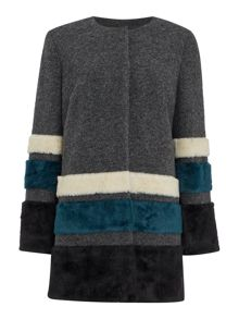 Collarless faux fur stripe coat