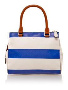 Mia multi coloured stripe cross body tote bag