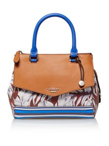 Mia tan print cross body tote bag