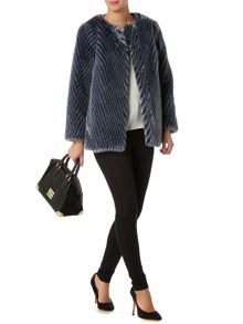 Biba Chevron faux fur collarless short coat