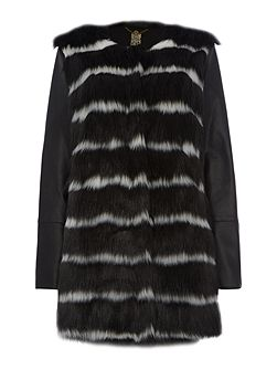 Striped faux fur coat with faux leather coat