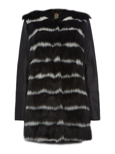 Biba Striped faux fur coat with faux leather coat