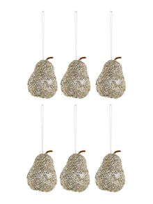 Set of 6 champagne glitter pear decorations