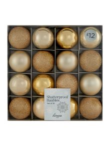 Set of 16 champagne shatterproof baubles