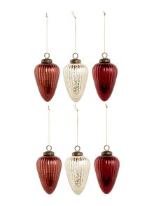 Linea Set of 6 red and gold mercury glass decorations