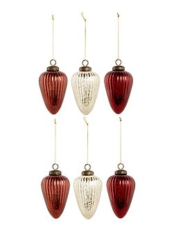 Set of 6 red and gold mercury glass