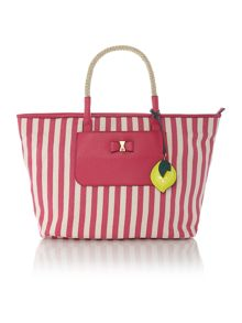 Luka pink stripe tote bag