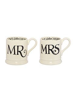 MR and MRS Black Toast Mug Set