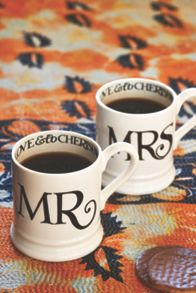 Emma Bridgewater MR and MRS Black Toast Mug Set