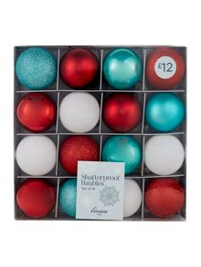 Set of 16 red, white & blue shatterproof baubles