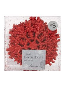 Set of 12 red glitter snowflakes
