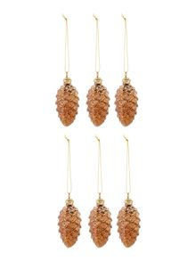 Set of 6 bronze glass pine cone decorations
