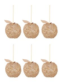 Set of 6 gold glitter apple decorations