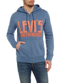 Crew Neck Zip-Thru Hoodie With Applique Logo