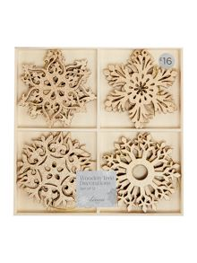 Set of 12 wooden snowflake decorations