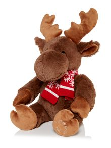 Marvin moose with knitted scarf cuddly toy