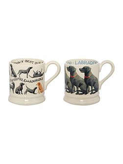 Black Labradors Set of Two 1/2 Pint Mugs