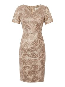 Metallic floral embroidered dress