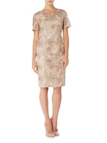 Linea Metallic floral embroidered dress