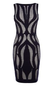 Karen Millen Geo Texture Stripe Knit Dress