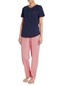 ss knit top w woven pant