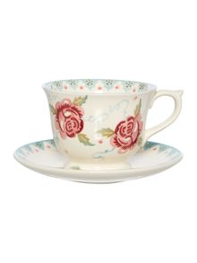 Rose & Bee Large Teacup & Saucer Boxed