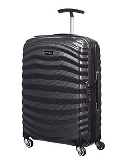 Samsonite Lite-Shock black 4 wheel 55cm cabin suitcase