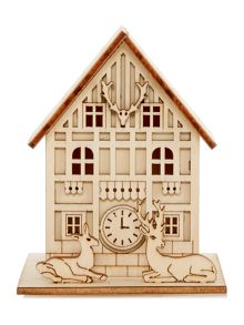 Small light up wooden house decoration