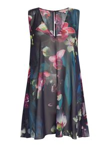 Ted Baker co fuchsia floral pleated cover up