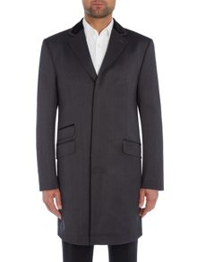 New & Lingwood Elsham twill coat with velvet top collar