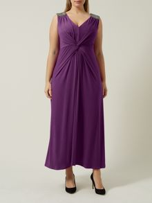 Windsmoor Plus Size Magenta Jersey Maxi Dress