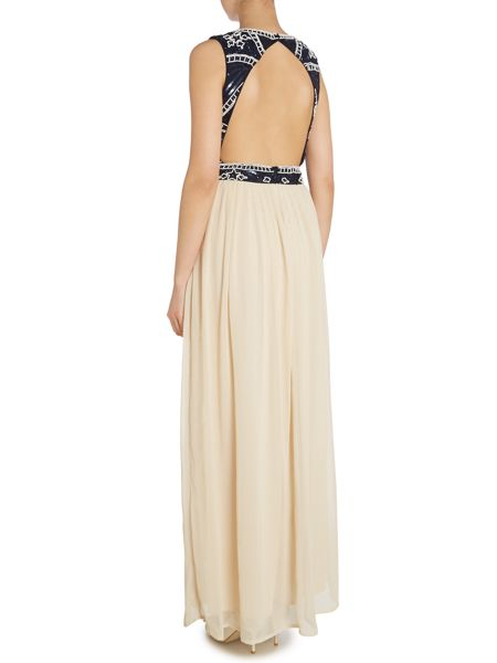 Lace and Beads Sleeveless beaded top cut out back maxi dress
