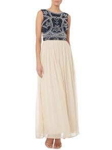 Sleeveless beaded top cut out back maxi dress