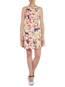 Louche Sleeveless floral print fit and flare dress