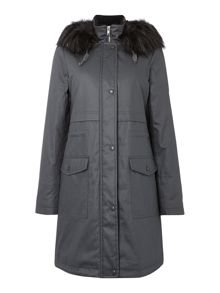Waxed Look Parka With Faux Fur Trim
